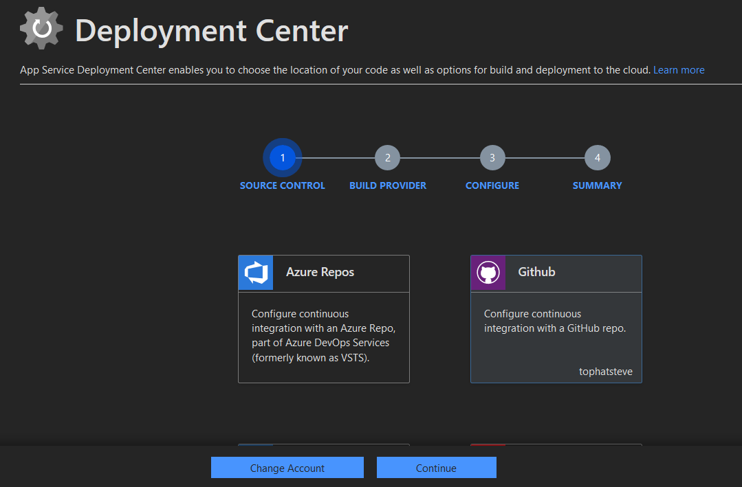 Select Deployment Center